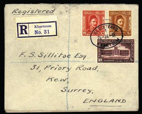 Sudan 1935  group of three registered covers from Khartoum to England SG59/66