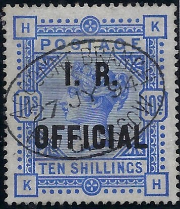 Great Britain 1890 10s Ultramarine (I.R. Official).  SGO10