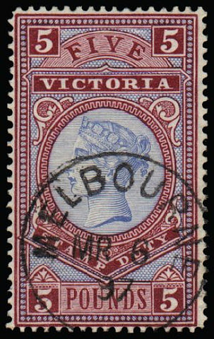 Victoria 1886-96 £5 pale blue and maroon SG324