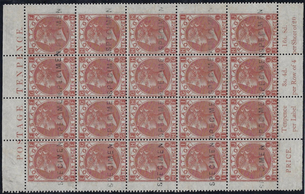 Great Britain 1867 10d Pale red-brown Plate 1 SG113s