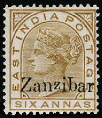 Zanzibar 1895-96 6a pale brown (small second 'z' and inverted 'q' for 'b') SG13n