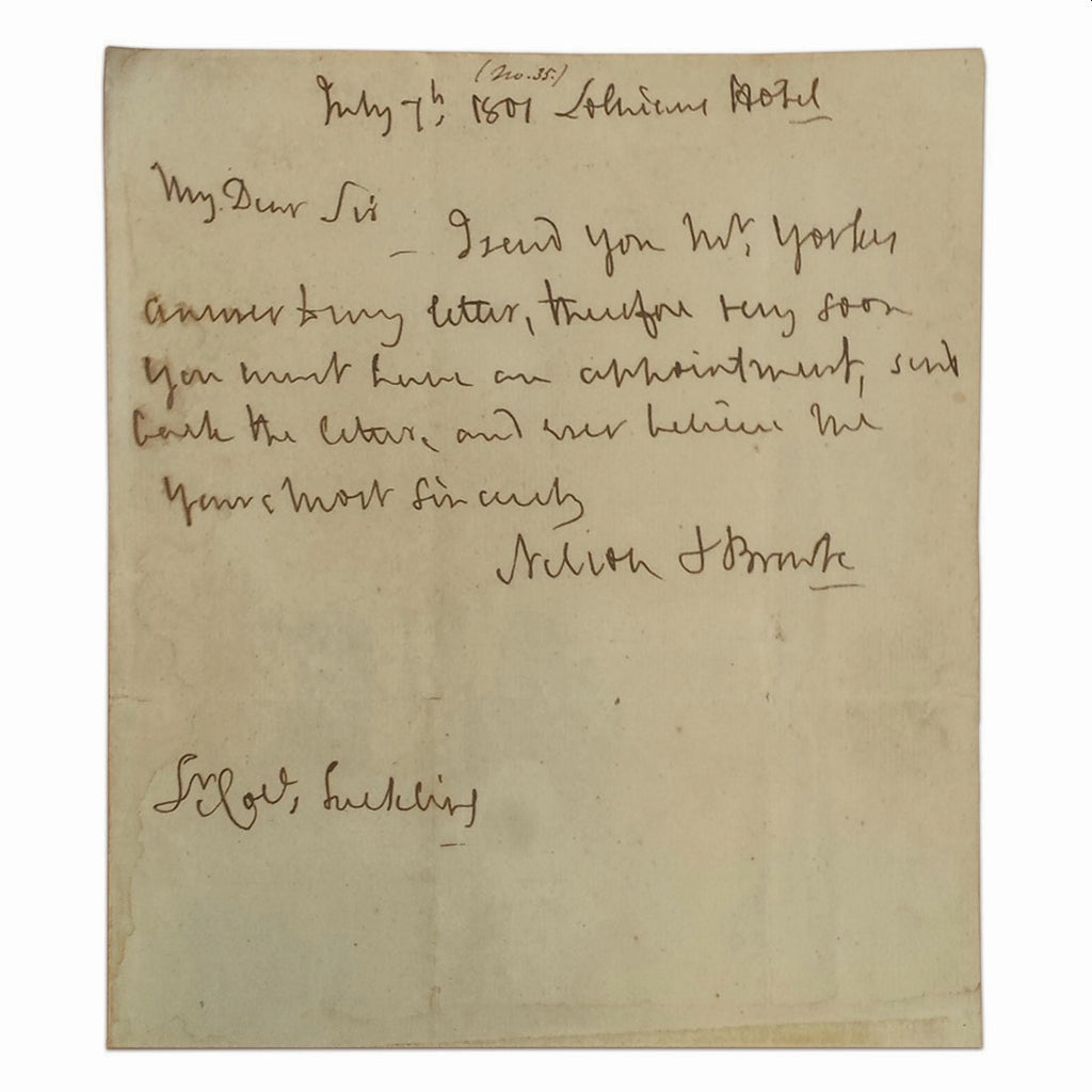 Admiral Horatio Lord Nelson handwritten signed note