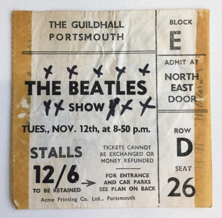 Original 1963 Beatles concert ticket