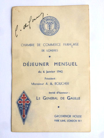 Charles De Gaulle signed WW2 menu