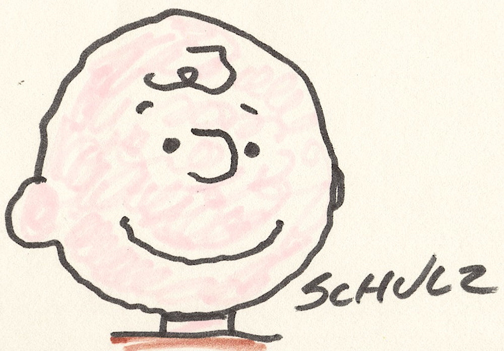 Charles Schulz signed Charlie Brown cartoon sketch