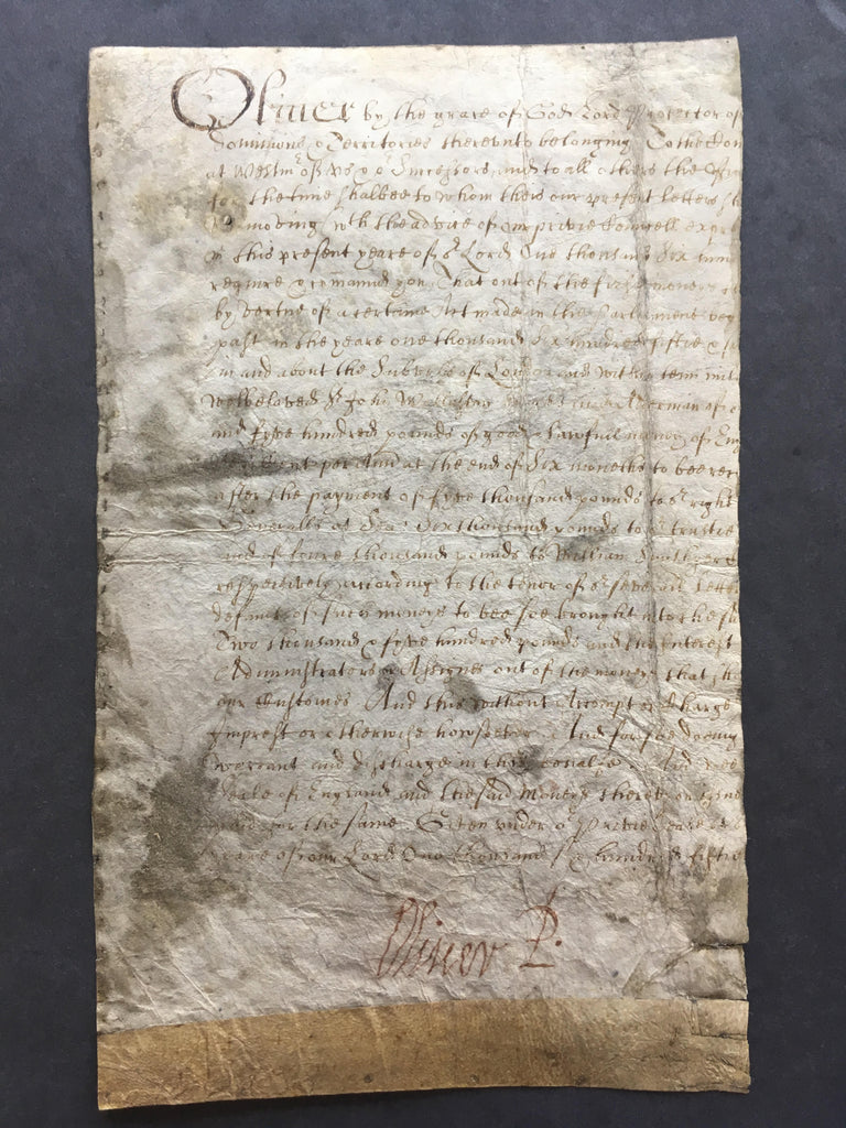 Oliver Cromwell signed document