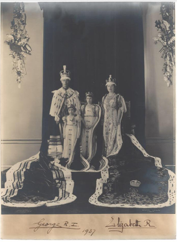King George VI and Queen Elizabeth signed photograph