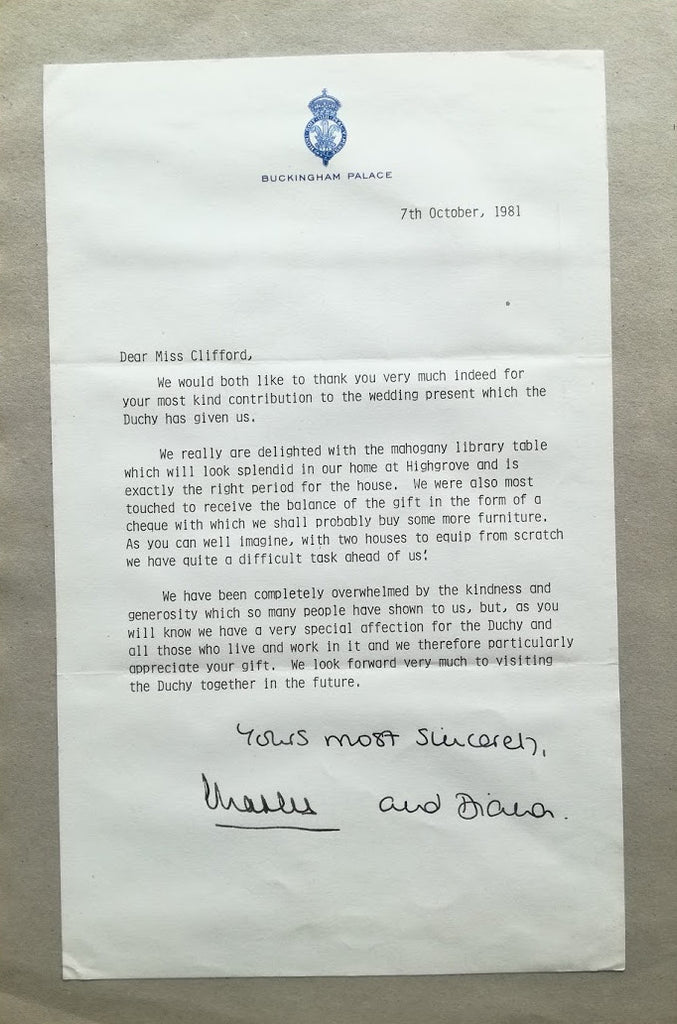 Prince Charles and Princess Diana signed 'thank you' letter