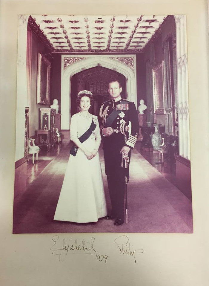 Queen Elizabeth II and Prince Philip signed photograph