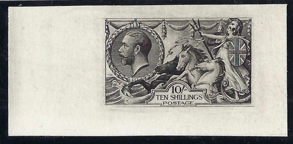 Great Britain 1929 10s 'Seahorse' Experimental plate proof. SG417var