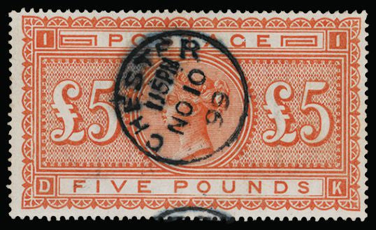 Great Britain 1882 Queen Victoria Surface Printed £5 Orange Plate 1, SG137