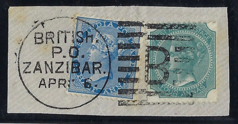 Zanzibar 1866 India 4a green (die I) and 1873 ½a blue SGZ13,16