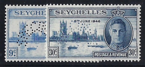 Seychelles 1946 Victory 9c and 30c SG150s/1s