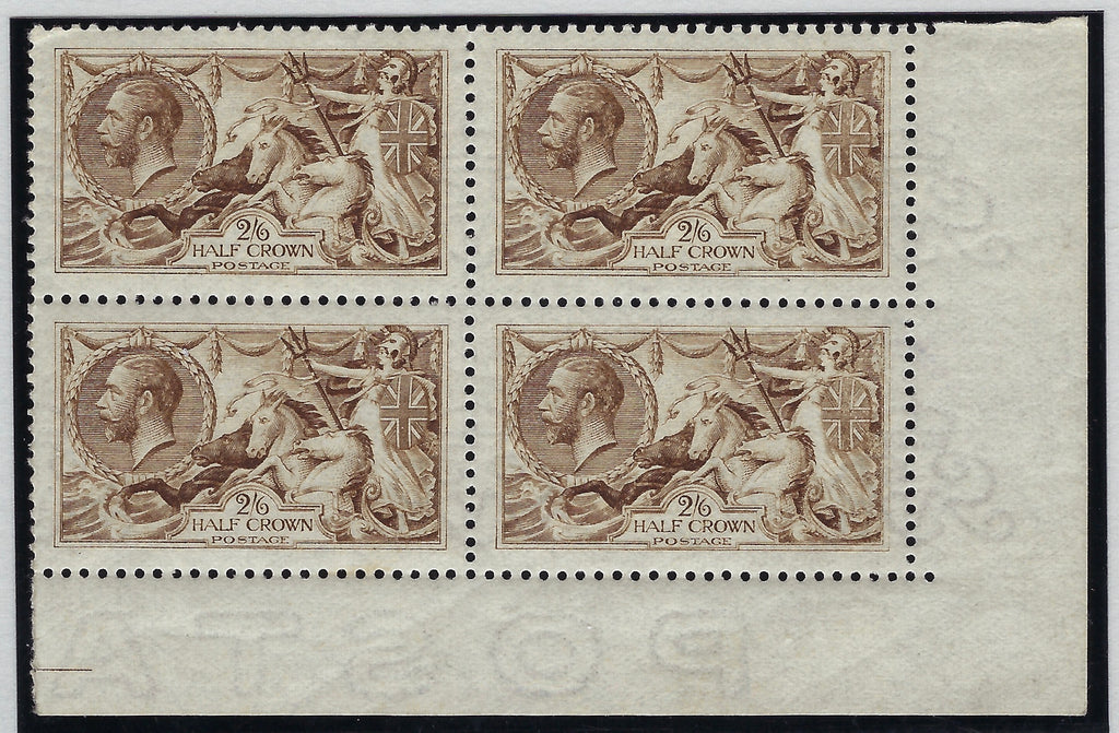Great Britain 1915 King George V 2s6d yellow brown (watermark reversed). SG406wi