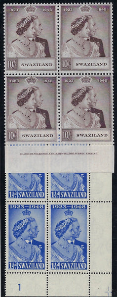 Swaziland 1948 Royal Silver Wedding set in blocks of 4 SG46/7