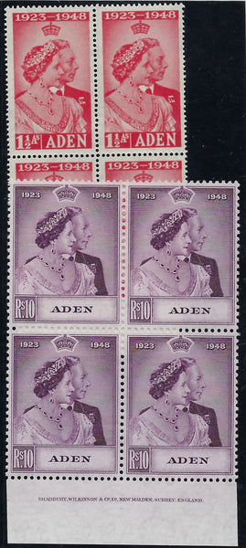 Aden 1949 Royal Silver Wedding 1½a and 10r SG30/1