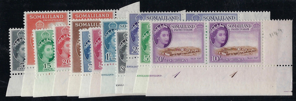 Somaliland 1953-58 set of 12 to 10s in matching lower right corner horizontal pairs with plate number(s) SG137/48