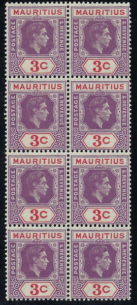 Mauritius 1938-49 3c reddish-purple and scarlet SG253/a