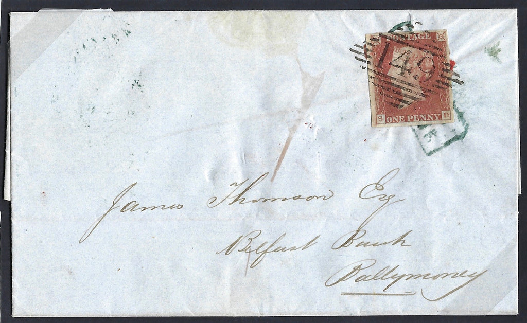 Great Britain 1841 Cover 1d Red brown Plate 46 SG8