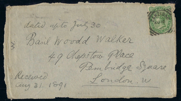 Zanzibar 1891 cover FRONT to 'Basil Wood Walker SGZ70
