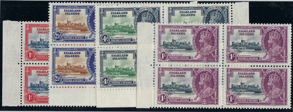 Falkland Islands 1935 Jubilee set of 4 to 1s in marginal blocks of 4 SG139/42