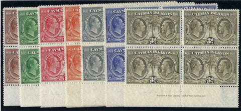 Cayman Islands 1932 Centenary short set of 7 to 3d in imprint blocks of 4 SG84/90