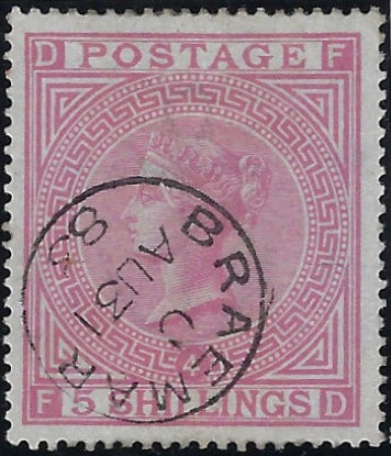 Great Britain 1882 5s Rose Plate 4 (Blued paper), SG130