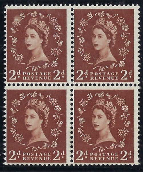 Great Britain 1958 2d Light red brown (Crisp print)