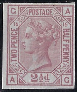 Great Britain 1879 2½d Rosey mauve Plate 16, SG141var
