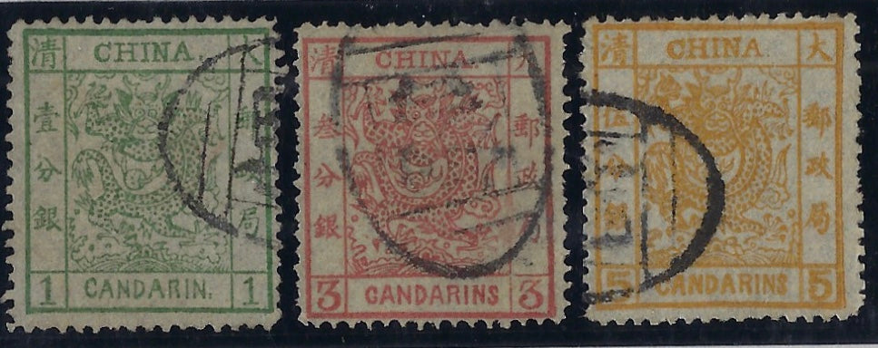 China 1878 1ca green, 3ca brown-red and 5ca orange SG 1/3