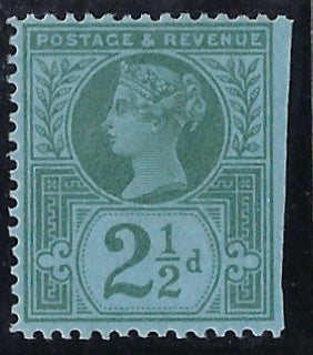 Great Britain 1887 2½d 'Jubilee' colour trial.  SG201var