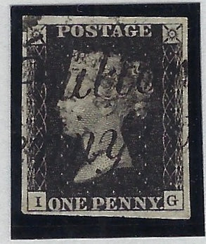 Great Britain 1840 1d Black Plate 9. SG2