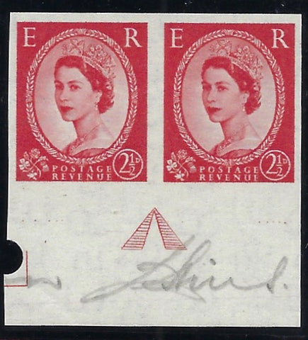 Great Britain 1956 2½d Carmine-red 'Wildings' (Watermark St Edwards Crown Sideways).  SG544var