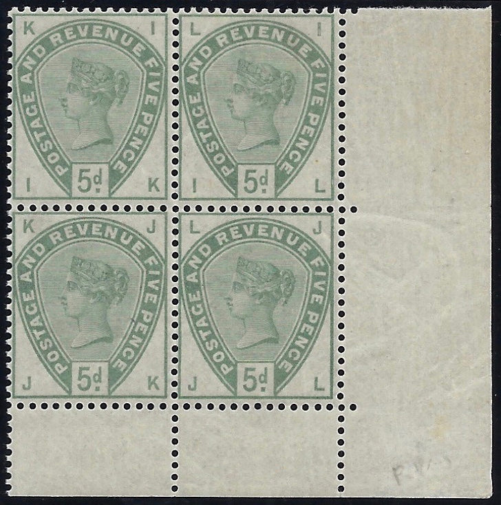 Great Britain 1884 5d Dull green.  SG193