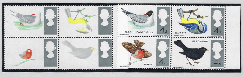 Great Britain 1966 Queen Elizabeth II 4d Birds (Ordinary paper), SG696ab.