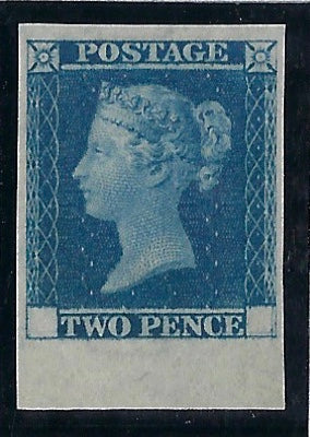 Great Britain 1841 2d Blue trial, SG DP43