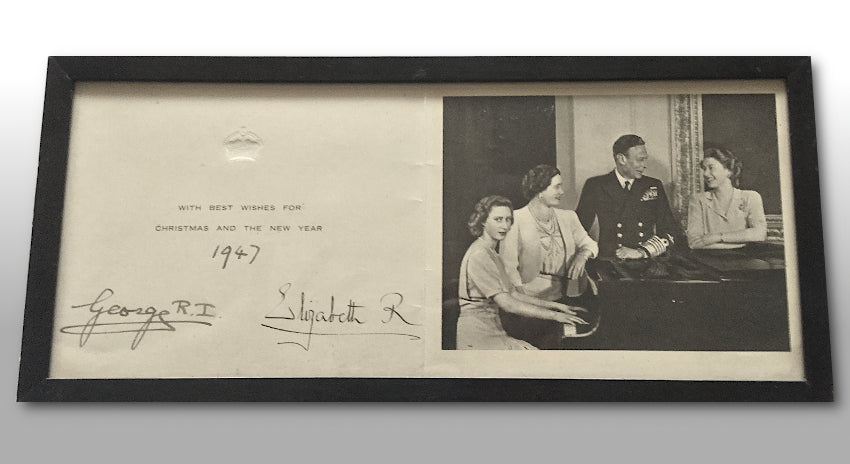 King George VI and Queen Elizabeth signed Christmas card