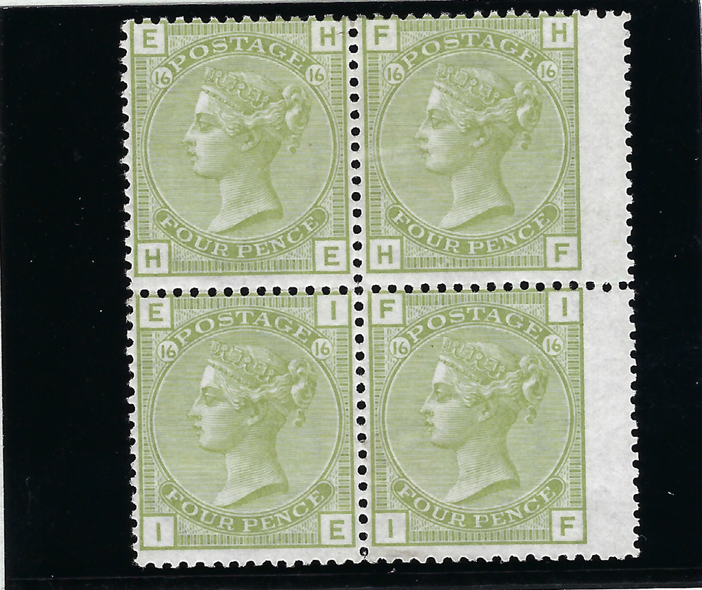 Great Britain 1877 4d Sage Green Plate 16, SG153