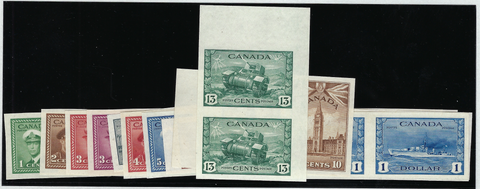 Canada 1942-48 War Effort set of 14 to $1 in IMPERFORATE pairs, SG375/88