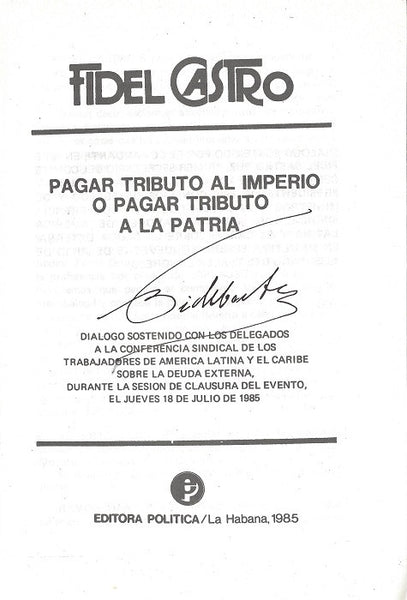Fidel Castro Signed Speech Transcript