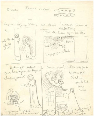 Paul Signac autograph manuscript and sketches