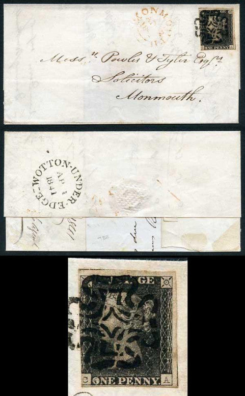 Great Britain 1840 1d black Wotton Under Edge cover. SG2