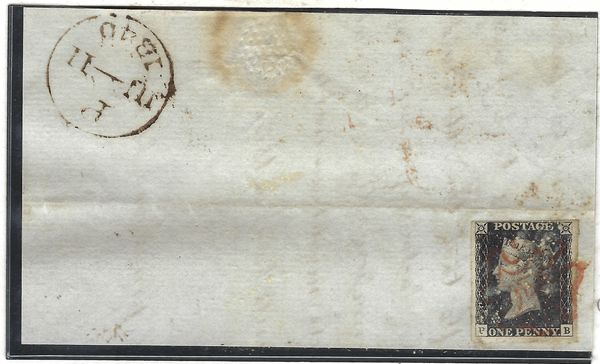 Great Britain 1840 1d, Plate 1b, June 11th 1840 the earliest date of use  SG2