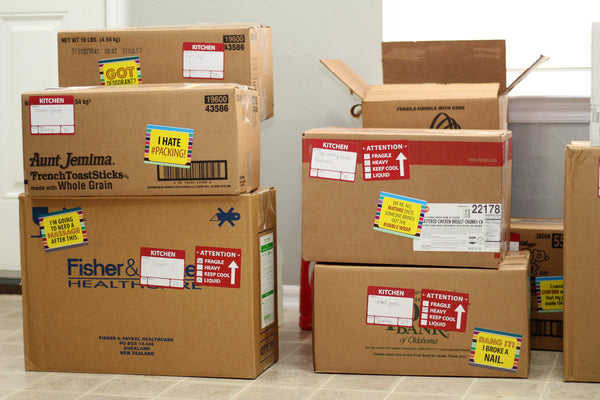 Best Moving Labels to organize and lighten the stress of any move! Color-coded Moving Labels and Humorous Moving Labels from WellPlannedMove.com