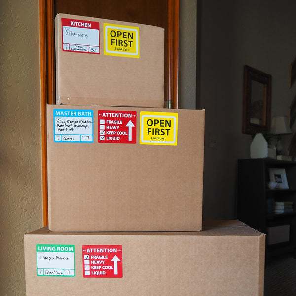The Well-Planned Move: Moving Labels, a uniquely designed color coordinating moving label system to organize your move.