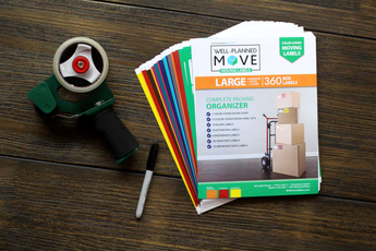 Well-Planned Move: Color-Coded Moving Labels - LARGE KIT  The Well-Planned Move: Moving Labels, a uniquely designed color coordinating moving label system. It is a set of 360 color-coded stickers that help organize and prioritize boxes. Includes: Room Color Chart; Room Signs; Room Labels with content description, floor level, notes, and box number; Attention Labels; Hazardous Labels; Open First Labels; and Important Docs Labels.