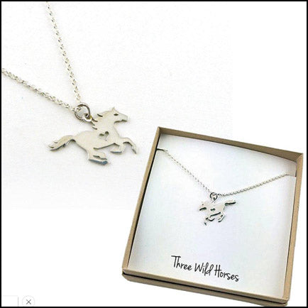 Silver Running Horse Necklace