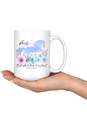 Aries Zodiac Horse Coffee Mug-Drinkware-teelaunch-Aries Blue Horse Mug-Three Wild Horses