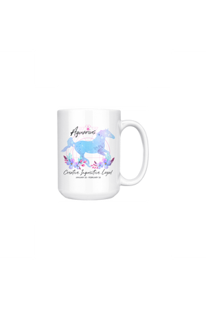Aquarius Zodiac Horse Coffee Mug-Drinkware-teelaunch-Blue Horse Aquarius Zodiac-Three Wild Horses