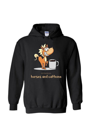 Horses and Caffeine - Long Sleeve-Long Sleeve-Teescape-HOODIE-Black-S-Three Wild Horses